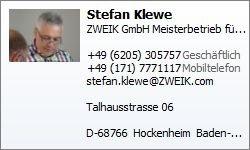 ZWEIK GmbH - Stefan Klewe - Visitenkarte
